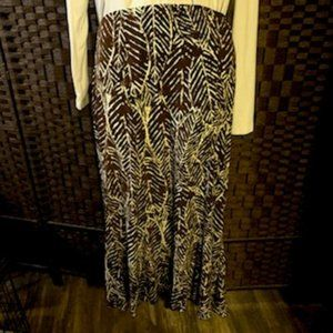 Briggs New York Size L Brown/White Pattern Skirt